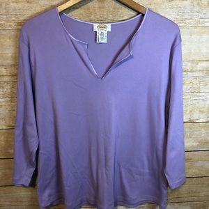 Talbots Purple 3/4 Sleeve V-Neck Top